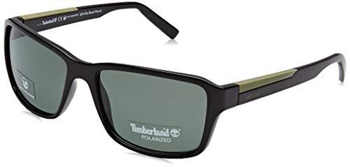 Timberland Herren TB9155 Sonnenbrille, Schwarz (Shiny Black/Green Polarized), 59