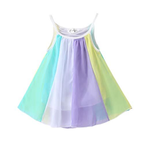Julhold Kleinkind Kinder Baby Mädchen Niedlich Prinzessin Kleidung Ärmellos Chiffon Lose Tutu Regenbogen Kleider 1-5 Jahre -
