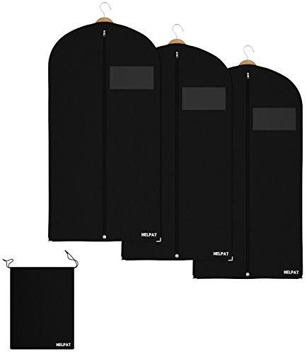 HELPAT 3X Kleidersack inkl. Schuhbeutel | 120 x 60 cm | schwarz | Hochwertiger Anzugsack | Atmungsaktive Kleiderh