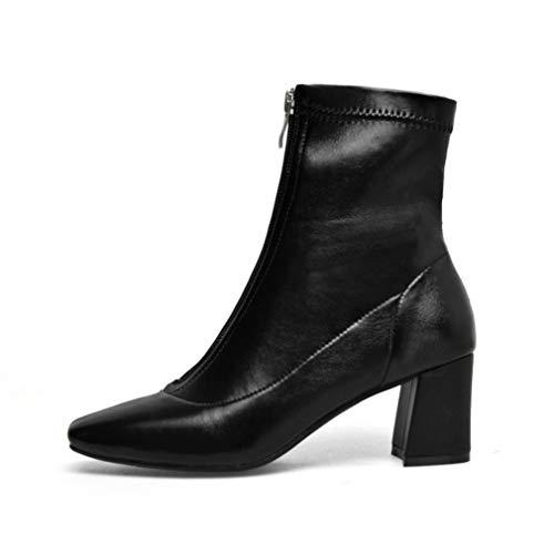 YAN Frauen Stiefel Spitz Zehe Garn Elastische Stiefeletten Starke Ferse High Heels Schuhe Frau Weibliche Socken Stiefel (Farbe : Schwarz, Größe : 39)