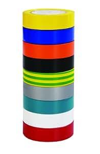 Voltman VOM530015 Lot de 9 rubans isolants 10 m
