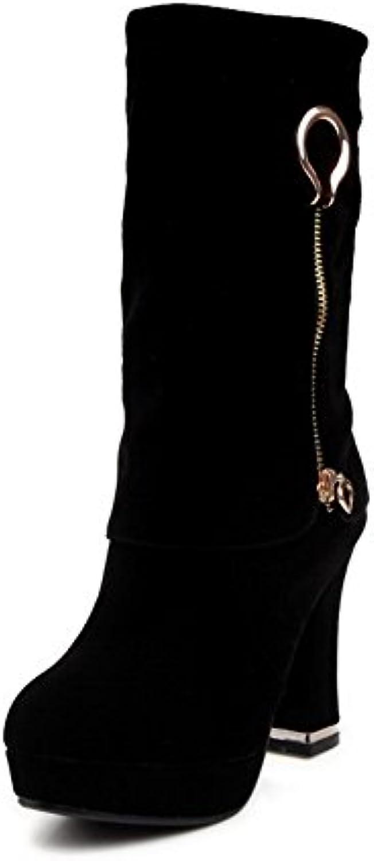 Odomolor Damen Mattglasbirne Ziehen auf Rund Zehe Hoher Absatz Mitte-Spitze Stiefel