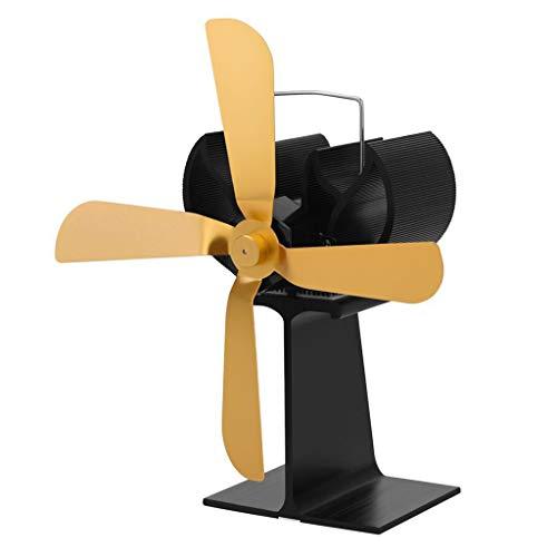 MIUSON Wärmebetriebener Holzofen Umweltfreundlicher Ventilator Extrem leiser 4-Brenner-Kamin-Gebläse Silent Ecofan
