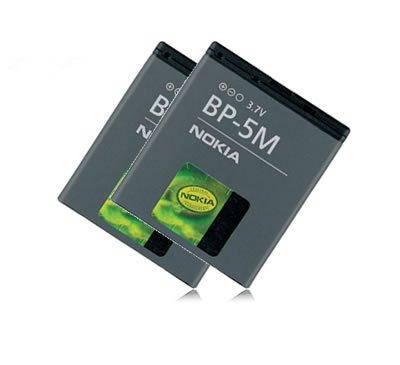 2x Batteria BP-5M BP5M originale per Nokia 6110 Navigator, 6220 Classic, 6500 slide, 7390, 8600 luna