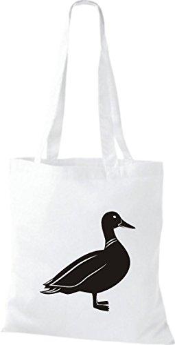 Shirtstown Stoffbeutel Tiere Ente Weiß