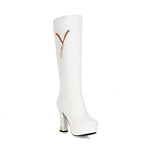 Tempo libero e lunghi stivali molto alta con temperamento sexy e stivali , bianco 42
