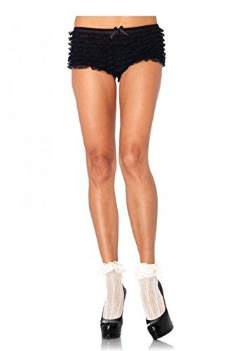 Leg Avenue Damen Paar Söckchen Socken Strümpfe gehäkelt mit Spitzenkante creme weiß Einheitsgröße One Size ca. 36 bis 40 (Weiße Nylon-netzstrümpfe)