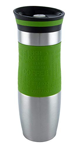 Luckyberg Travel Mug, One-Handed Open and Drink Coffee or Tea, Very High Quality, Double Walled and Leakproof for Any Hot and Cold Drink (480 ml, 16 oz (Green)