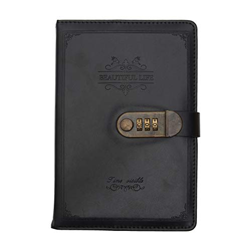 Store2508 Novelty Diary Notebook with Number Combination Lock and PU Leather Cover - Set of 230 Pages (Black, 22 x 15 cm)