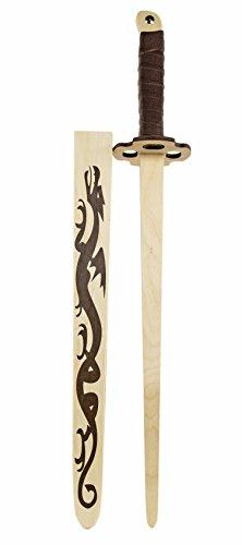 Drachen-Schwert Kinder-Holz-Ninja-Katana Samurai-Schwert 65cm mit Klingen-Scheide und Gürtelschlaufe Piraten-Säbel Kostüm Verkleidung mit Parierkreis m (Samurai-schwert Kostüm)