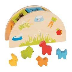 GOKI- Puzzles 3DPuzzles 3DGOKICaja de Formas ¿Quién Come qué, Multicolor (1)