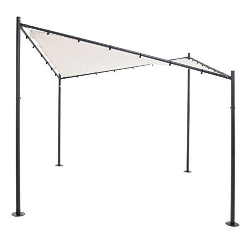 Gloriette (Pavillon) Papillon   Sable   300 x 300 cm   Carrée   Polyester 300 g/m2 (UV 50+)  40 kg   Extérieur - Cour Arrière - Couvert - Canopée