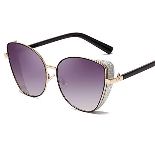 YHgiway Cat Eye Steampunk Sonnenbrillen für Damen & Herren, Metallrahmen Shiny Shades Sonnenbrille verspiegelte Gläser - UV400-Schutz YH7260,GrayGradientLens