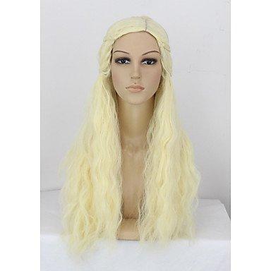 HJL-Fille Long Purecolor Light Golden Curls Cosplay 28 pouces temp¨¦rature fibre synth¨¦tique cheveux perruques , blonde