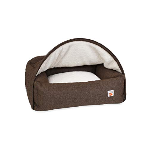 Sleepy Fox Snuggle Cave - Premium Dog Bed - Quilted Brown Fabric - Size Medium -