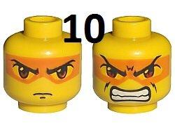 LEGO EXO-FORCE - 10 Stück MINIFIGUREN - KÖPFE mit oranger Maske + 2 GESICHTERN - HIKARU KOPF