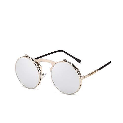 Sportbrillen, Angeln Golfbrille,Sunglasses Flip Sun Glasses Steampunk Fold Men Women Double Lens Clear Alloy Frame Eyewear Eyeglasses Shade UV400 Silver Silver