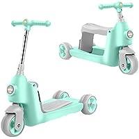 MOIMK Correpasillos Y Patinete 2 En 1 Bicicleta Sin Pedales Reversible Scooter 3 Ruedas Niño Niña 2-5 Años,Green