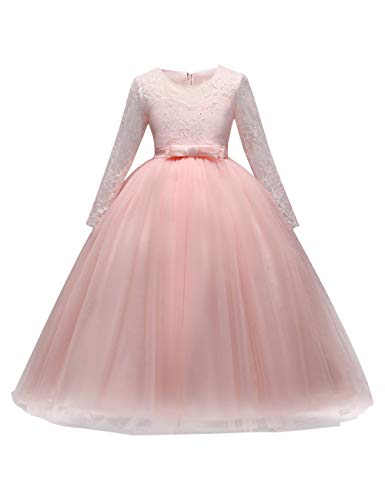 besbomig Spitze Tüll Maedchen Prinzessin Festzug Kleid Hochzeits Blumenmädchen Kleid Erstkommunion Cocktailkleid Langes Abendkleid Kommunikation Partykleid