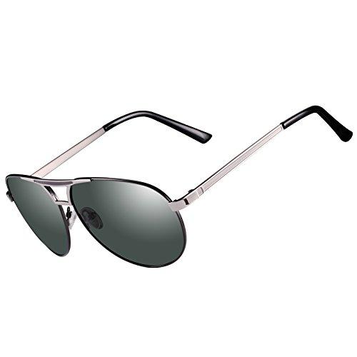 Kennifer Aviator Flieger Polarisierte Sonnenbrille Männer Herren Metallrahmen Mode Spiegel Objektiv Unisex Eyewear Fahren Angeln Radfahren Shopping Golf Sport Brillen, UV400 (C3)