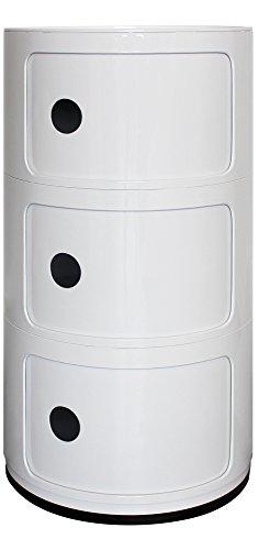 Blanco 3estantería redonda unidad de almacenamiento, mesilla de noche, mesa auxiliar, cuarto de baño unidad de almacenamiento