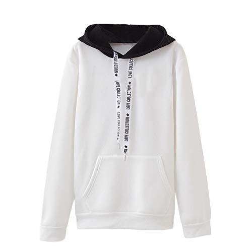 Damen Hoodie, VEMOW Plus Größe Langarm Brief Gedruckt Sweatshirt Jumper Bluse(X1-a-Weiß, M/36)
