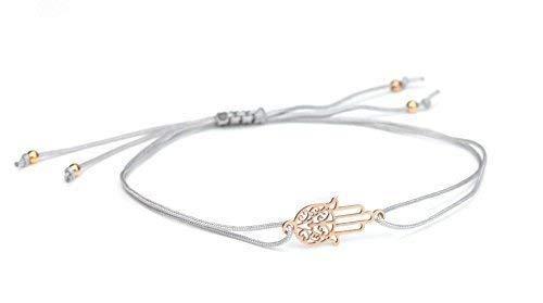 ol Armband Fatimas Hand - Hamsa, Grau-Rosegold, 925 Silber rosevergoldet | Schmuck Textilarmband Geschenkidee ()