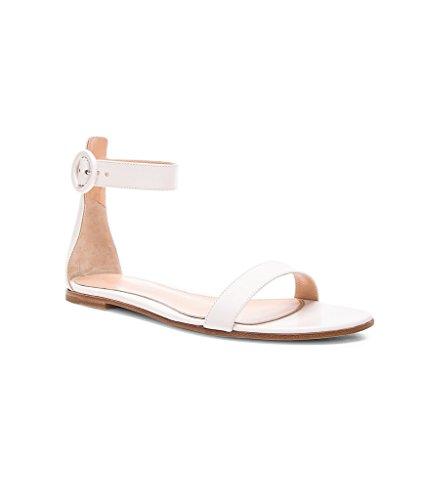 EDEFS - Chaussures Femme - Sandales - Chaussons - Ballerines - Lanière à la Cheville fermée par Boucle Blanc