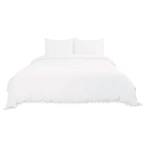 sourcing map Luxus Doppel Gebürstet Pompon Bettdecken Bettbezug Bettwäsche Set Weiß König DE de (Weiß Bettbezug Bettwäsche König)