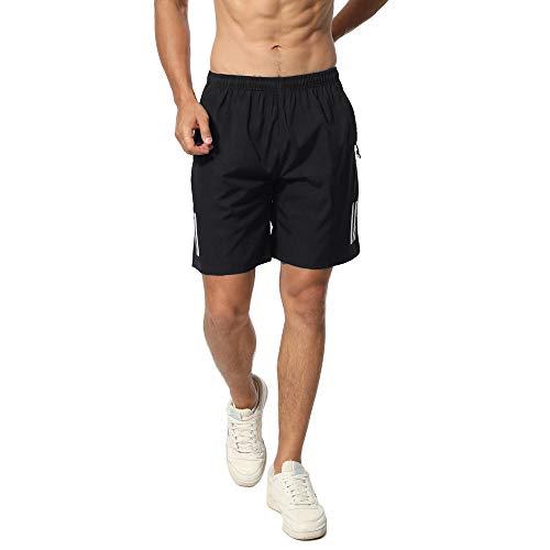 CHYU Sporthose Kurz Herren Soft Comfort Schnelltrocknend mit Reißverschlusstasche Sport Shorts Jogginghos (Reines Schwarz, XL) - Herren Shorts Größentabelle