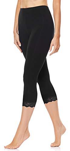 Merry Style Damen 3/4 Capri Leggings aus Baumwolle mit Spitze MS10-224 (Schwarz, XL)