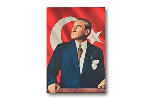 """Gök-Türk Wandbild Bild für Wohnzimmer Büro Wohnung Deko Kunstdrucke""""Mustafa Kemal Atatürk"""" Türkei Türkische Flagge Ay Yilldiz"""