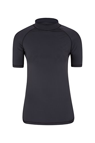 Mountain Warehouse Damen Rash Guard Kurzarm UV Schutz bequem Shirt Sport Urlaub Surf Wassersport Schwarz DE 46 (EU 48)