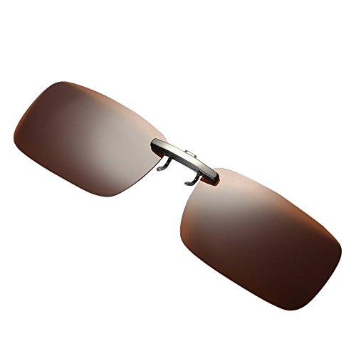 Zhen+zhen + Brillenclip, Sonnenbrillen-Clip Mode für Brillenträger, polarisiert Sonnenbrillen Clips, Herren Damen Rechteckig Sonnenbrille Brille Überbrille für Brillenträger Fit-over Gläser (Kaffee)
