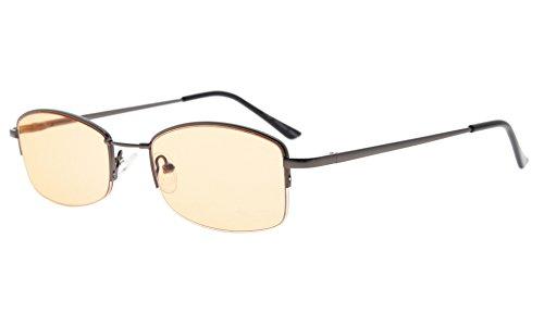 Eyekepper Damen Computer Brillen Halbrand Speicher Titan Brücke Blau Lichtschutzbrillen, Bernstein getönte Gläser (Gunmetal,+0.00)