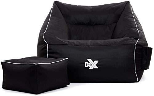 i-eX Übergroßer Gaming Sitzsack-Sessel und Fußhocker, Gamer Sitzsack, 100cm x 88cm, Schwarz, Wasserabweisend