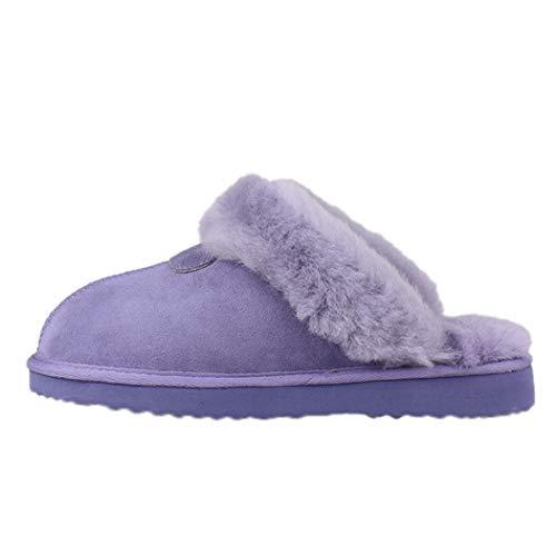 Frauen Frühling Warme Hausschuhe Pelz Frauen Flache rutschfeste Solide Fox Dias Real Fox Haarspangen Große Größe Indoor Schuhe -