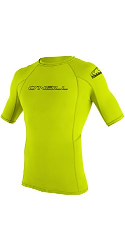 O'Neill Basic Skins Short Sleeve Crew Rash Vest LIME