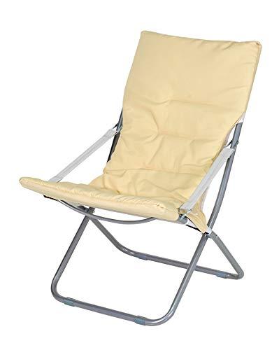 Enrico coveri collection sedia sdraio canapone moderna, poltrona imbottita con struttura in acciaio, perfetta per giardino, terrazza e salone (beige)
