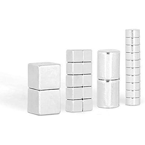 Mix set di magneti – Mix di 24 potentissimi magneti al neodimio / 2 cubi (10mm) + 2 cilindri (8x10mm) + 10 dischi (6x3mm) + 10 cubi (5mm) / ideale per whiteboard e lavagne magnetiche in vetro