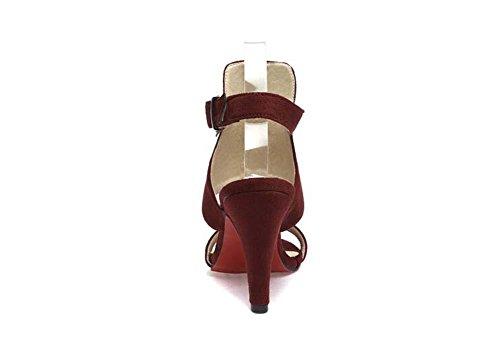 Onfly Donne Peep Toe Tacchi alti Sandali Fibbia della cintura Cinghie di caviglia Stiletto Scarpe Semplice Annata Sandali Red