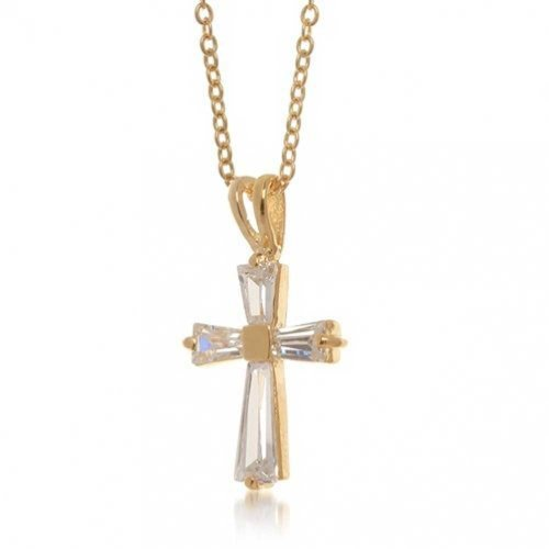 Bling Jewelry Minimalistische Einfach Baguette Zirkonia AAA Kreuz Anhänger Mit Kette Für Damen Für Jugendlich 14K Vergoldet Messing (Baguette-kreuz-anhänger)