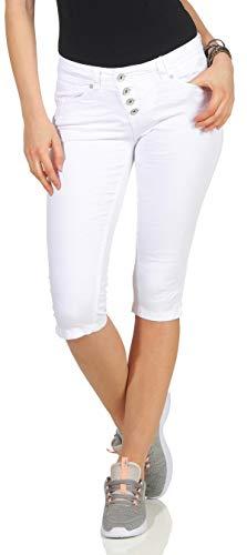 Buena Vista Damen Sommer Jeans Malibu Capri Stretch Twill Kurze Hose Knopfleiste White XXS - Weiße Twill-capris