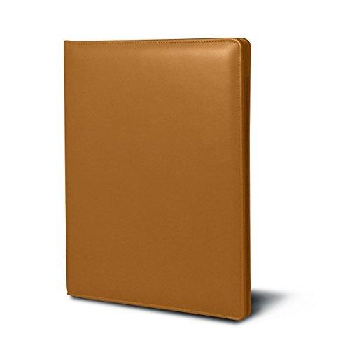 Lucrin OS1234_VCLS_NTR - Carpeta con bolsillos redondeados, fabricada en piel lisa, A4, color marrón