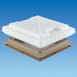 MPK Deckenlampe für Wohnmobile, mit Lampenabdeckung und Fliegennetz, 400x400mm, Beige