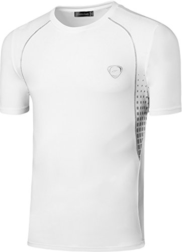 jeansian Herren Sportswear Quick Dry Short Sleeve T-Shirt LSL3225 LSL027_White