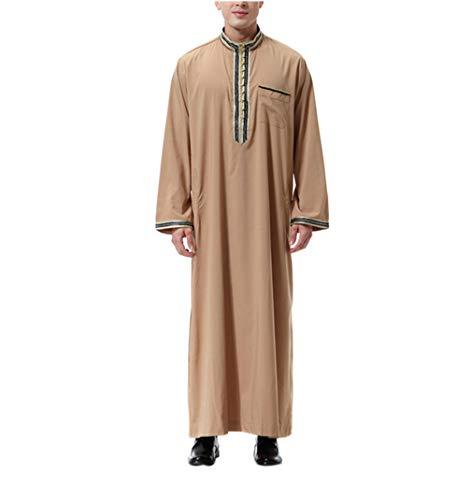 Männliche Hai Kostüm - zhbotaolang Muslimisches Männliches Hemd Lange Hülse - Islamische Kleidung der Männer Jalabiya Kaftan Abaya Kleid Baumwolle (Hellbraun,L)