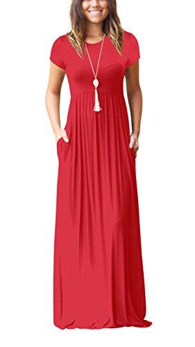 ZIOOER Damen Casual Lose Maxikleider Kurzarm Kleider Lange Kleid mit Taschen Rot XL -