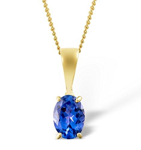 hänger mit Halskette - leuchtend blauer Tansanit im Oval-Schliff 0,85 ct - Gold 9 Karat ()