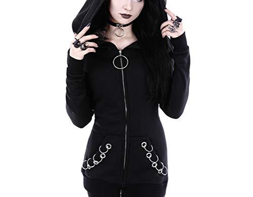 soweilan Frauen Punk Langarm Hoodie Eisenring Outwear Zip Up Gothic Sweatshirt Mantel - Gothic-damen-sweatshirt